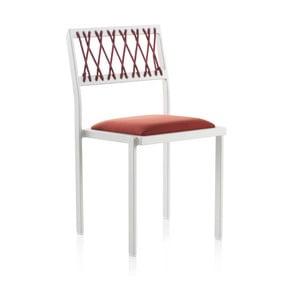 Biela záhradná stolička s červenými detailmi Geese Seally