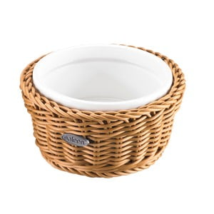 Porcelánová servírovacia miska v košíku Korb Round, svetlá