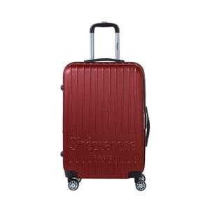 Tmavočervený cestovný kufor na kolieskách s kódovým zámkom SINEQUANONE Chandler, 71 l