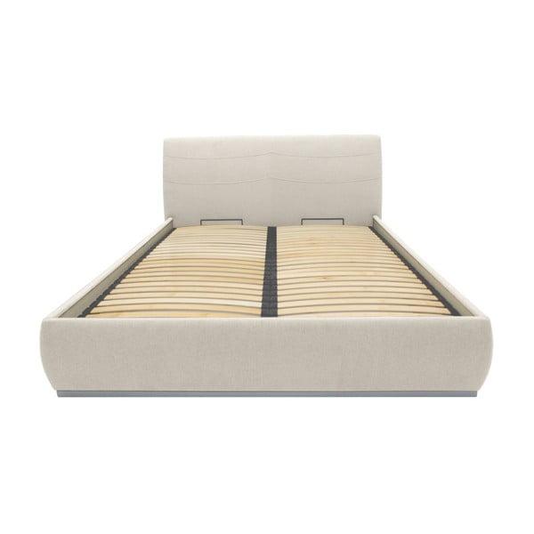 Béžová dvojlôžková posteľ Mazzini Beds Luna, 160×200cm
