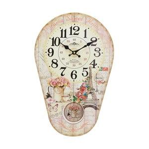 Nástenné hodiny s kyvadlom Eiffel, 30x45 cm