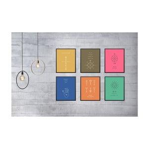 Sada 6 nástenných obrazov Tablo Center Symbols