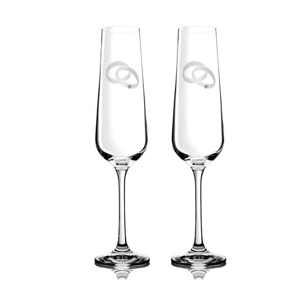 Sada 2 pohárov na šampanské Agape so Swarovski Elements v luxusnom balení