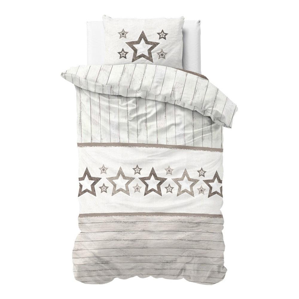Hnedo-biele obliečky z mikroperkálu Sleeptime Stars, 140 × 220 cm