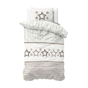 Hnedo-biele obliečky z mikroperkálu Sleeptime Stars, 140×220 cm