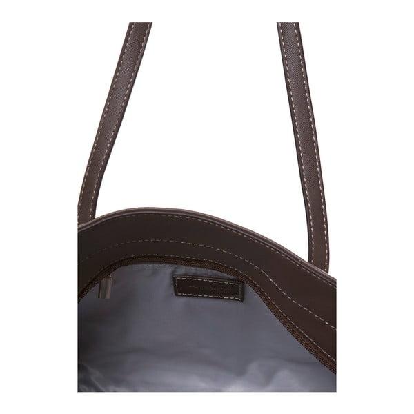 Kožená kabelka cez rameno Marta Ponti Zippy, svetlohnedá/tmavohnedá