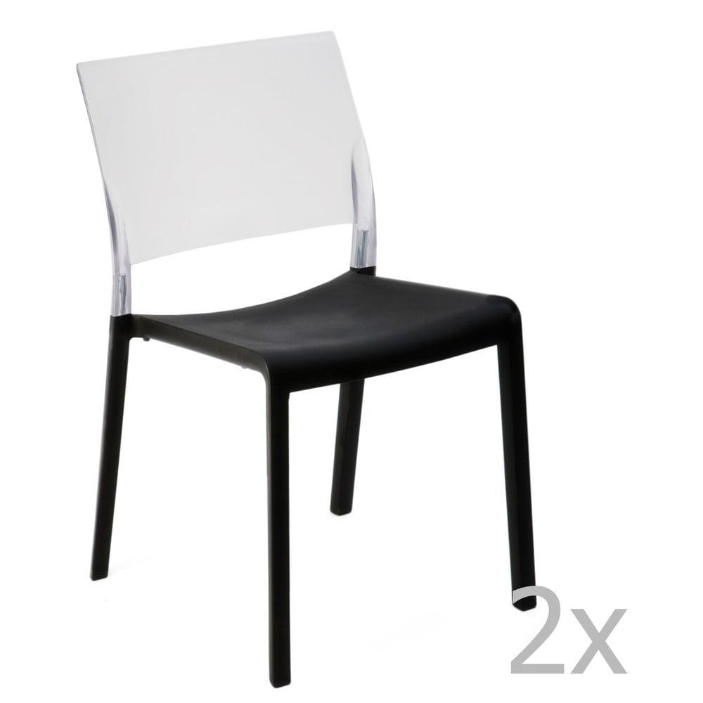 Sada 2 čierno-bielych záhradných jedálenských stoličiek Resol Fiona