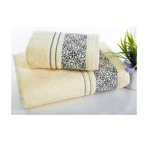 Sada uteráka a osušky Saray Cream, 50x90 cm a 70x140 cm