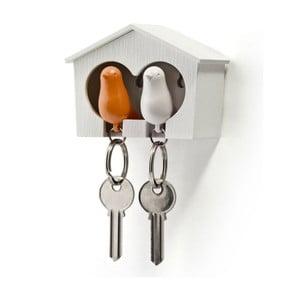 Búdka s kľúčenkami QUALY Duo Sparrow, biela búdka+oranžová kľúčenka