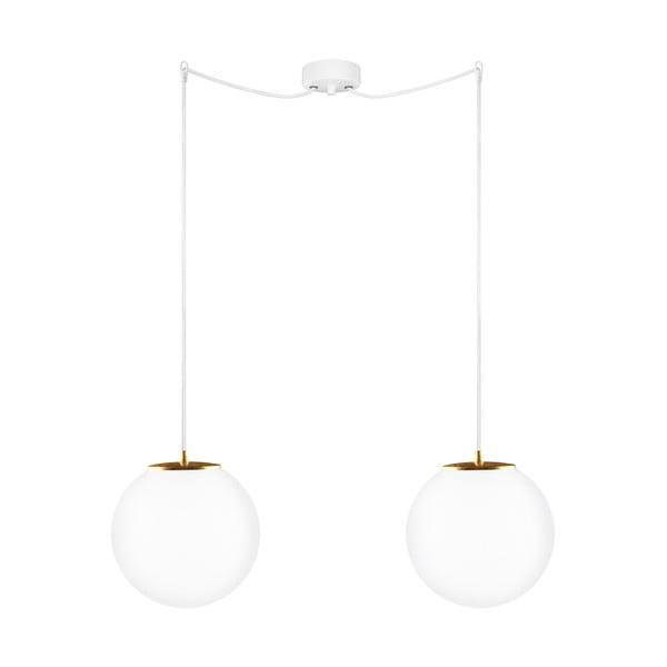Závesné dvojité svietidlo z opálového skla so zlatou objímkou Sotto Luce TSUKI