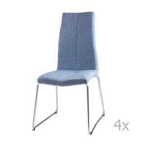 Sada 4 svetlomodrých jedálenských stoličiek sømcasa Aora