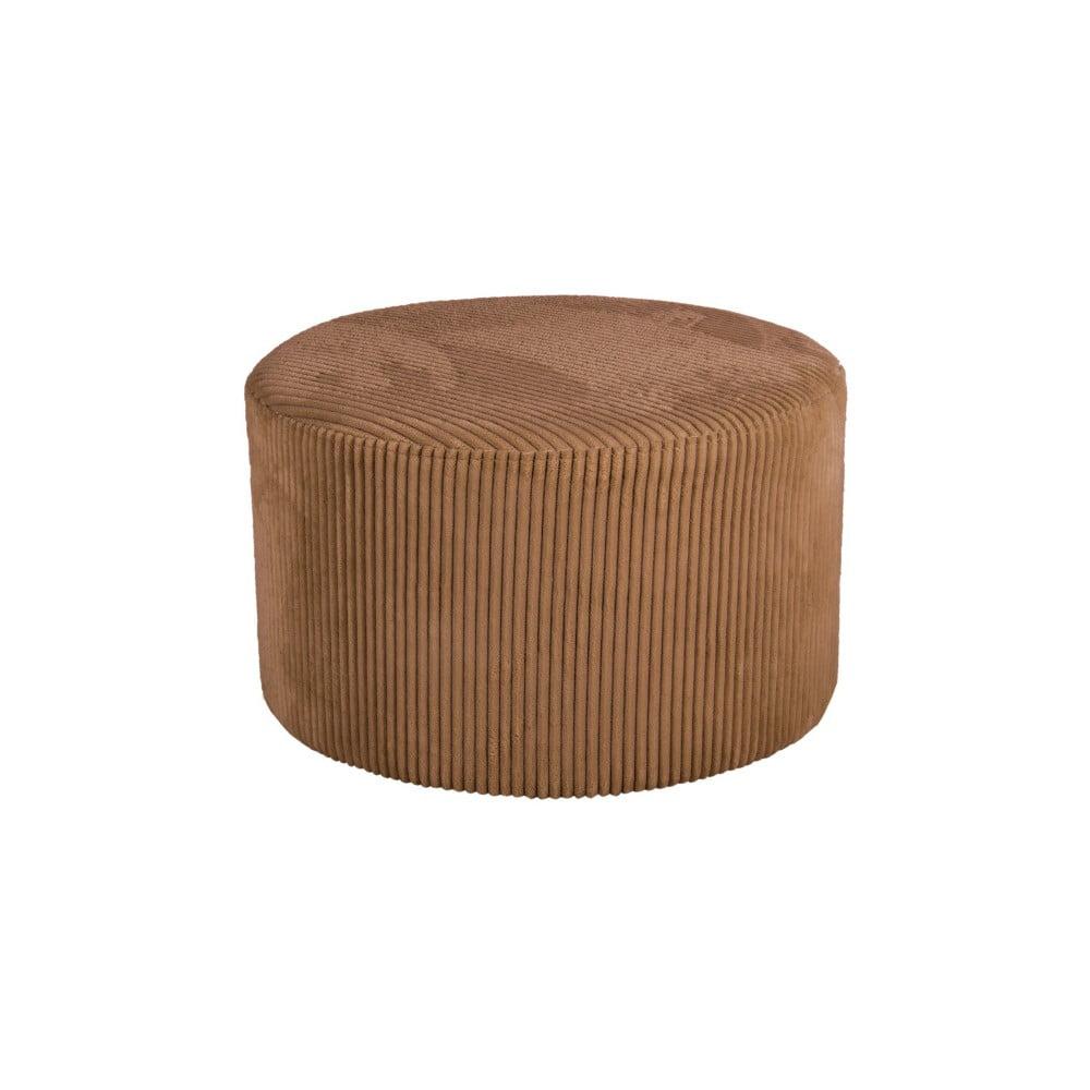 Hnedý menčestrový puf Leitmotiv Glam, 50 × 30 cm