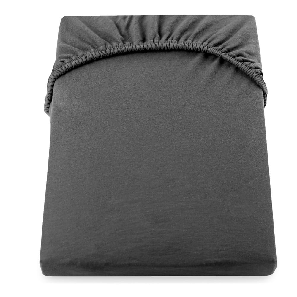 Tmavosivá elastická bavlnená plachta DecoKing Amber Collection, 180 - 200 × 200 cm