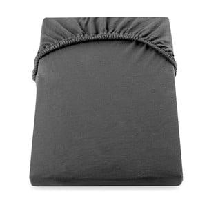 Tmavosivá elastická bavlnená plachta DecoKing Amber Collection, 220-240×200cm