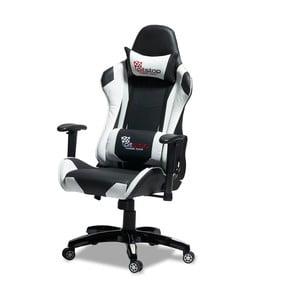 Čierno-biela kancelárska stolička Furnhouse Gaming