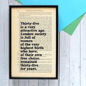 Plagát v drevenom ráme Oscar Wilde Attractive Age