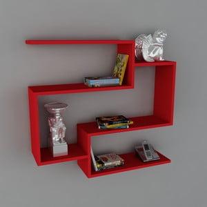 Polica Porto Book Red, 22x90x82 cm