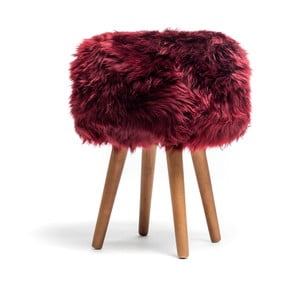 Stolička s červeným sedákom z ovčej kožušiny Royal Dream, ⌀ 30 cm