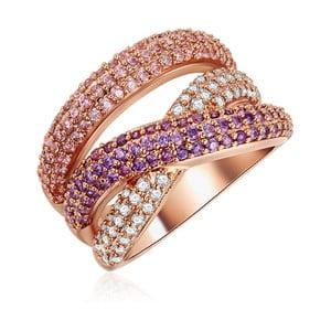 Dámsky prsteň vo farbe ružového zlata so zirkónmi Tassioni Rainbow, veľ. 56