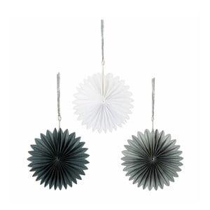Sada troch papierových závesných dekorácií Talking Tables White & Silver Mini Fans