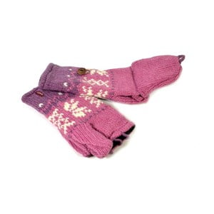 Vlnené palčiaky bez prstov Ružová vločka