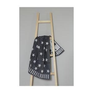 Tmavosivý bavlnený uterák My Home Plus Stars, 50×90 cm