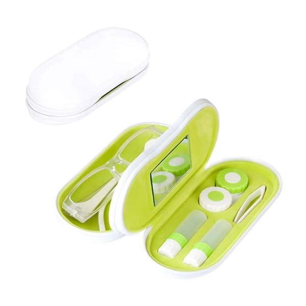 Púzdro na okuliare a šošovky Duo, bielo-zelené