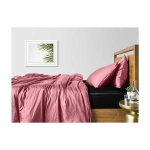 Ružové bavlnené obliečky na dvojlôžko s čiernou plachtou COSAS Lago, 200×220cm