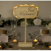 Svadobná dekorácia na stôl s LED svetielkami Just Married
