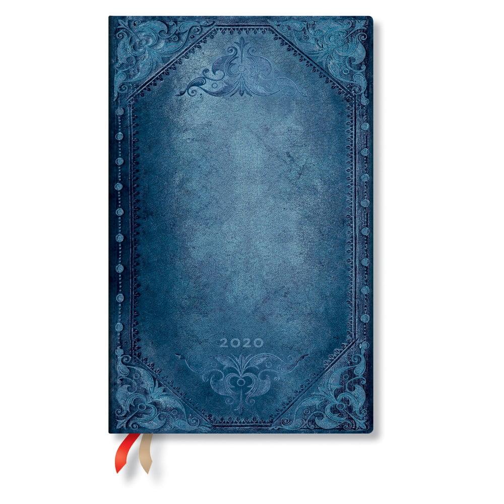 Modrý diár na rok 2020 v tvrdej väzbe Paperblanks Peacock Punk, 160 strán