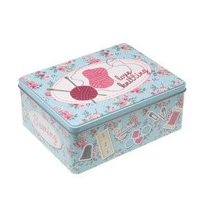 Kovový box na šitie Love Knitting