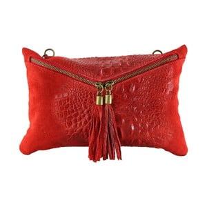 Červená kožená listová kabelka Chicca Borse Andy
