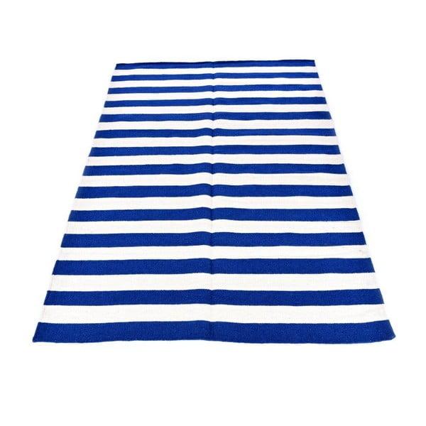 Vlnený koberec Geometry Stripes Dark Blue, 160x230 cm