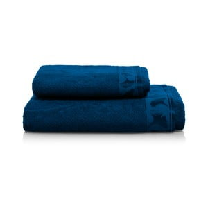 Set tmavě modrej osušky a uteráka z bambusových vlákien Maison Carezza Italia