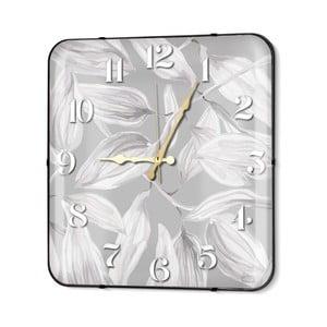 Sivé nástenné hodiny s listami The Mia