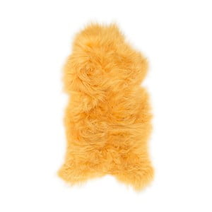 Žltá ovčia kožušina s dlhým vlasom, 110 x 60 cm