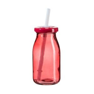 Červená fľaša na smoothie s viečkom a slamkou SUMMER FUN II, 200ml