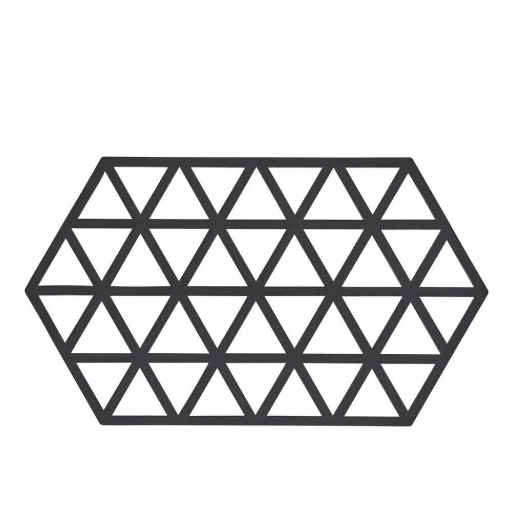 Čierna silikónová podložka pod horúce nádoby Zone Triangles