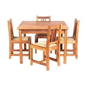 Detský záhradný stôl so 4 stoličkami z teakového dreva Massive Home Baby
