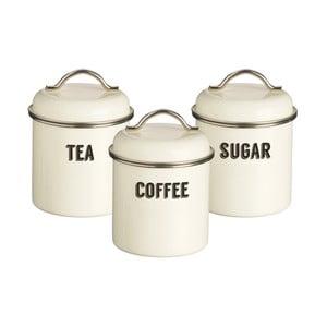 Sada 3 krémových dóz na čaj, kávu a cukor Typhoon Retro