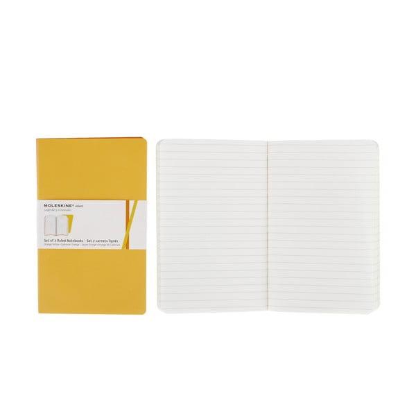 Sada 2 žltých zápisníkov Moleskine Volant, linajkové
