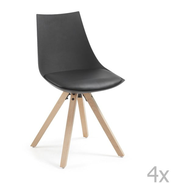 Sada 4 čiernych stoličiek La Forma Armony