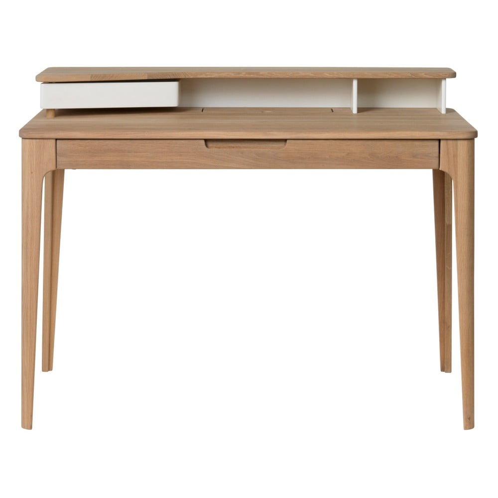 Písací stôl z dreva bieleho duba Unique Furniture Amalfi