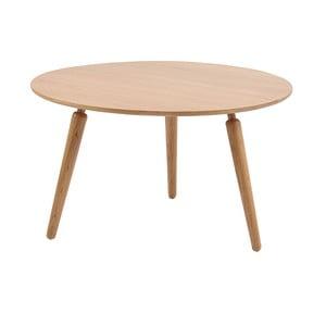 Prírodný konferenčný stolík z dubového dreva Folke Cappuccino, výška 45 cm × ∅ 80 cm