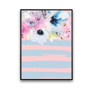 Plagát s kvetmi, modro-ružové pozadie, 30 x 40 cm