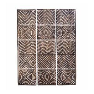 Sada 3 dekoratívnych panelov z teakového dreva Moycor Geometric, 110 × 140 cm