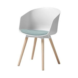 Biela jedálenská stolička s dubovými nohami Interstil Moon Haze