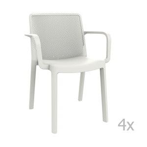 Sada 4 bielych záhradných stoličiek sopierkami Resol Fresh