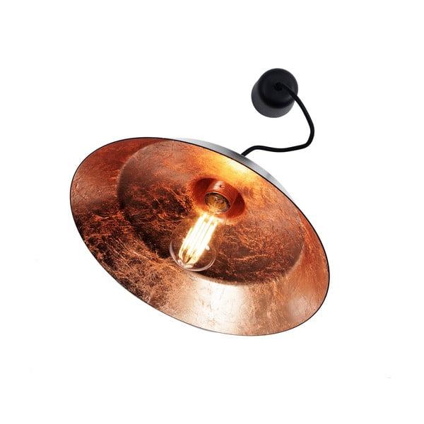 Čierne stropné svietidlo s detailom v medenej farbe Bulb Attack Cinco