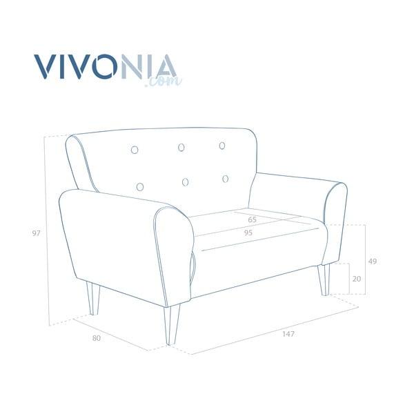 Horčicová pohovka pre dvoch Vivonita Klara